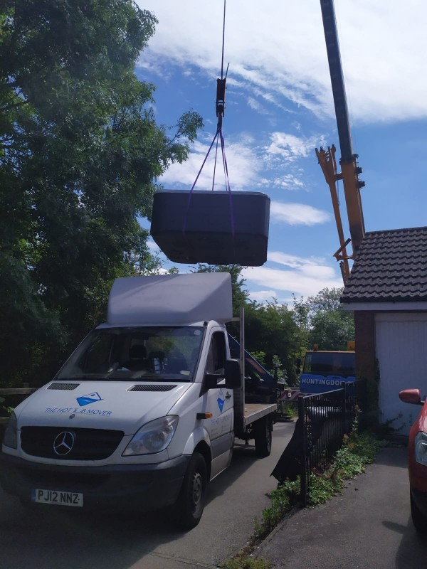 Hot Tub Transport with a crane