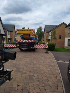 Crane Sat on Drive - The Hot Tub Mover