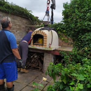 Pizza Oven nearly in place - The Hot Tub Mover